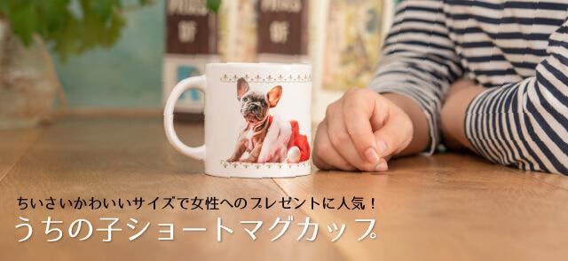 ペットの写真でオーダーメイドするうちの子オリジナルショートマグカップ約Φ80 x 80 mmサイズ。手軽なサイズで女性へのプレゼントに人気