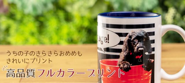 うちの子ペアバイカラーマグカップのお写真のプリントは高品質フルカラープリント