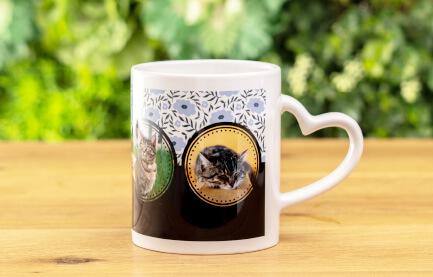 熱いお茶やコーヒーももちろん大丈夫なうちの子ペアハートマグカップ