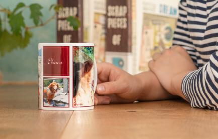 熱いお茶やコーヒーももちろん大丈夫なうちの子フルプリントマグカップ