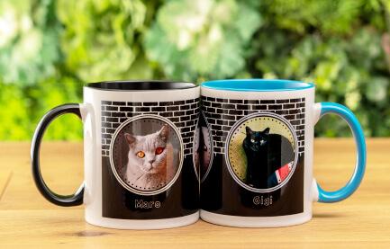 熱いお茶やコーヒーももちろん大丈夫なうちの子ペアカラーハンドルマグカップ