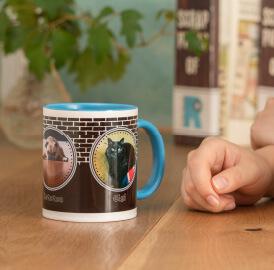 うちの子ペアオリジナルカラーハンドルマグカップは非常に丈夫な陶器製