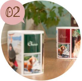 うちの子オリジナルペアフルプリントマグカップのご購入にオススメのシーン2。うちの子の思い出たっぷりのお写真を日常で使えるグッズに
