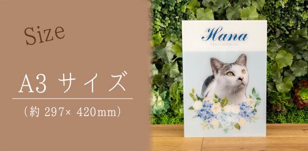 うちの子アクリル写真パネルのサイズ。約297×420mmサイズでのお届けです。
