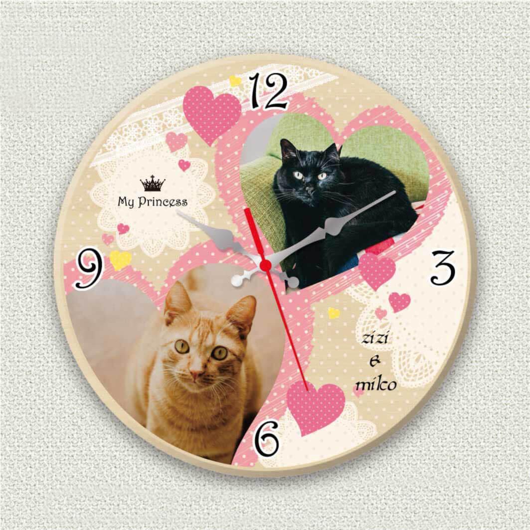 ペットのお写真からつくる!オリジナル時計 ガーリーハート画像