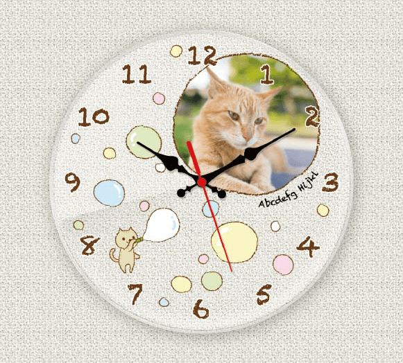 ペットのお写真からつくる!オリジナル時計 シャボン玉画像