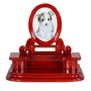 写真立てつきペットちゃん用お仏壇メモリアルスタンドレッドブラウン