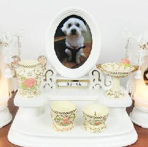 ペットちゃんのための仏具セット ホワイトローズ
