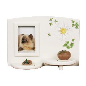 写真立てつきペットちゃん用お仏壇ホワイトメモリアルテーブル