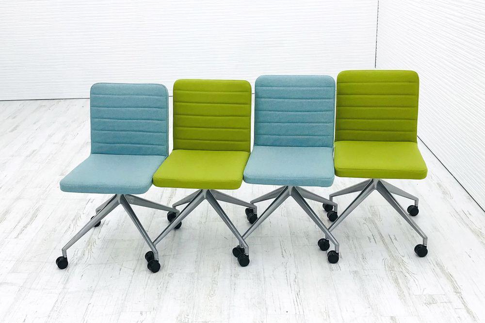 【4脚セット】ミーティングチェア 中古 相合家具 相合家具製作所 ダイニングチェア 中古オフィス家具の画像
