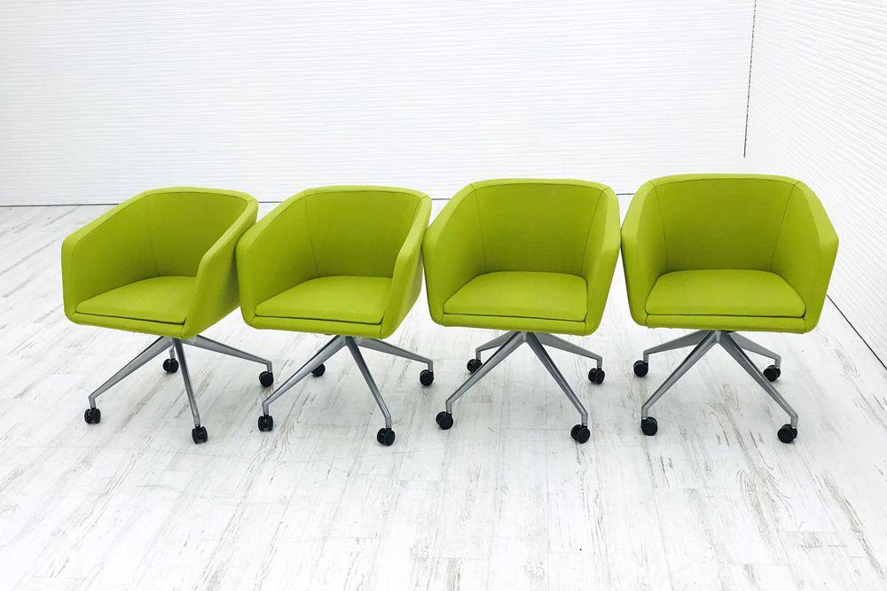 【4脚セット】 ミーティングチェア 中古 相合家具 相合家具製作所 ダイニングチェア 中古オフィス家具の画像