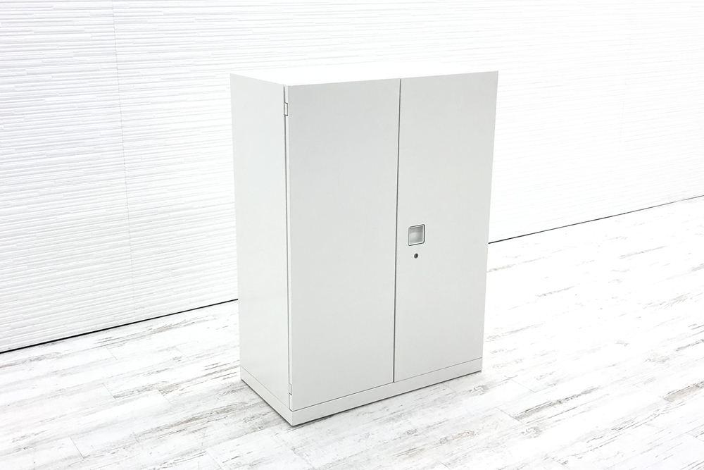 オカムラ レクトライン キャビネット 800×400×1100mm 中古書庫 両開き書庫 スチール書庫 ホワイト 4M313F ZA75 中古オフィス家具の画像