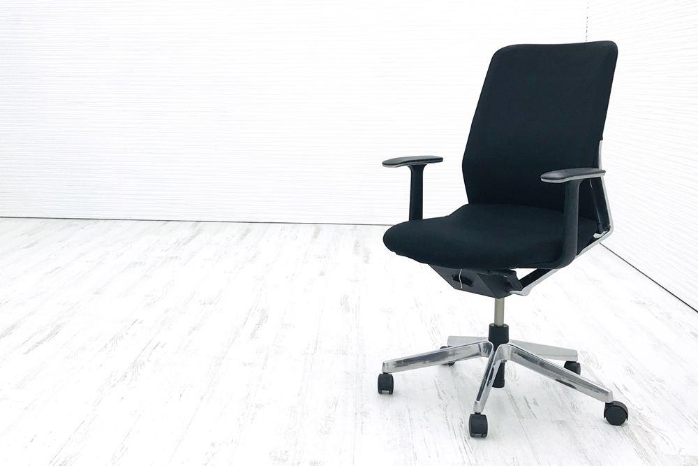 アガタS コクヨ 中古チェア 中古オフィス家具 クッション 背メッシュ KOKUYO 固定肘 ローバック ブラックの画像