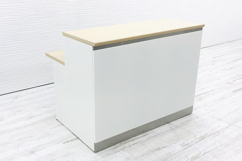 インフォメーションカウンター 中古 オカムラ 受付カウンター SGシリーズ W1280 幅1280 中古オフィス家具 ライトプレーン 4G98ZZの画像