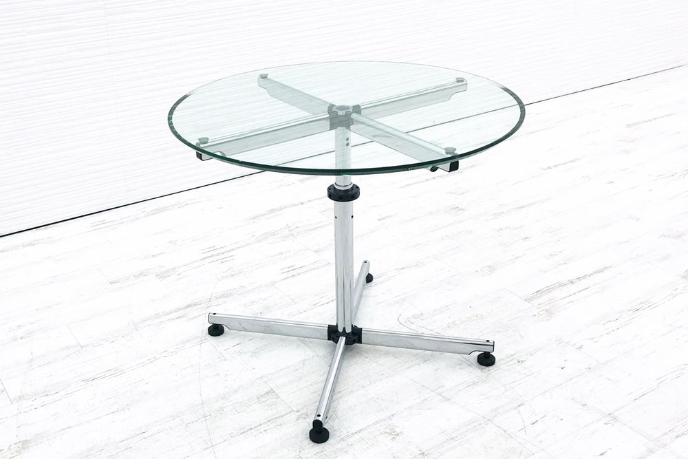 USM Kitos キトス ガラステーブル 会議テーブル カフェテーブル ダイニングテーブル 丸テーブル 直径895mm 中古オフィス家具の画像