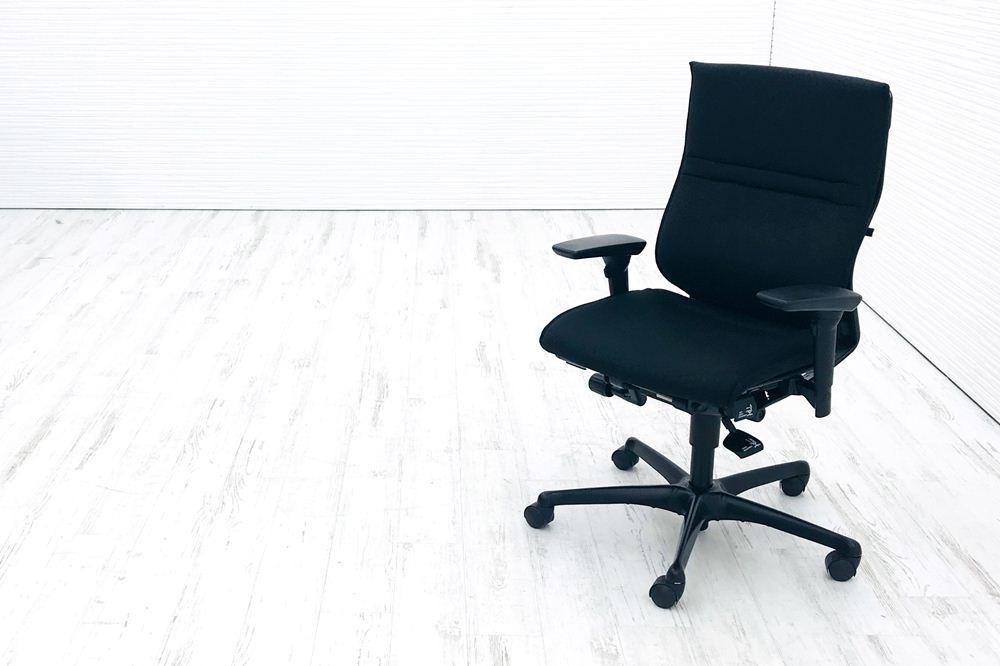 エルシオチェア オカムラ 中古 エルシオ クッション 可動肘 ブラック 中古オフィス家具 CR96ME FAE1の画像