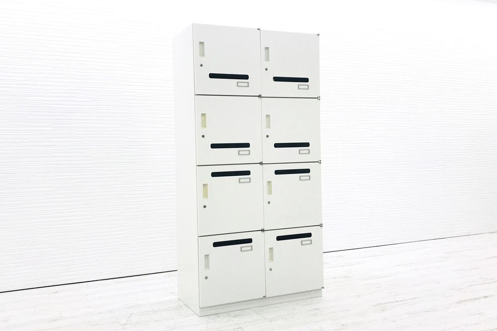 イトーキ シンラインキャビネット 8マスロッカー 収納家具 中古 中古オフィス家具 8人用 メールボックス  HCN-189HENE-W9の画像