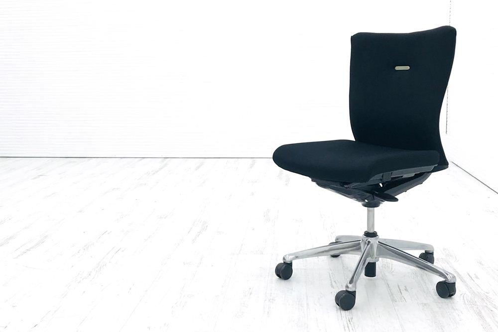 オカムラ フィーゴチェア 中古椅子 オフィスチェア フィーゴ ミドルバック 肘無し クッション 中古オフィス家具 ブラックの画像