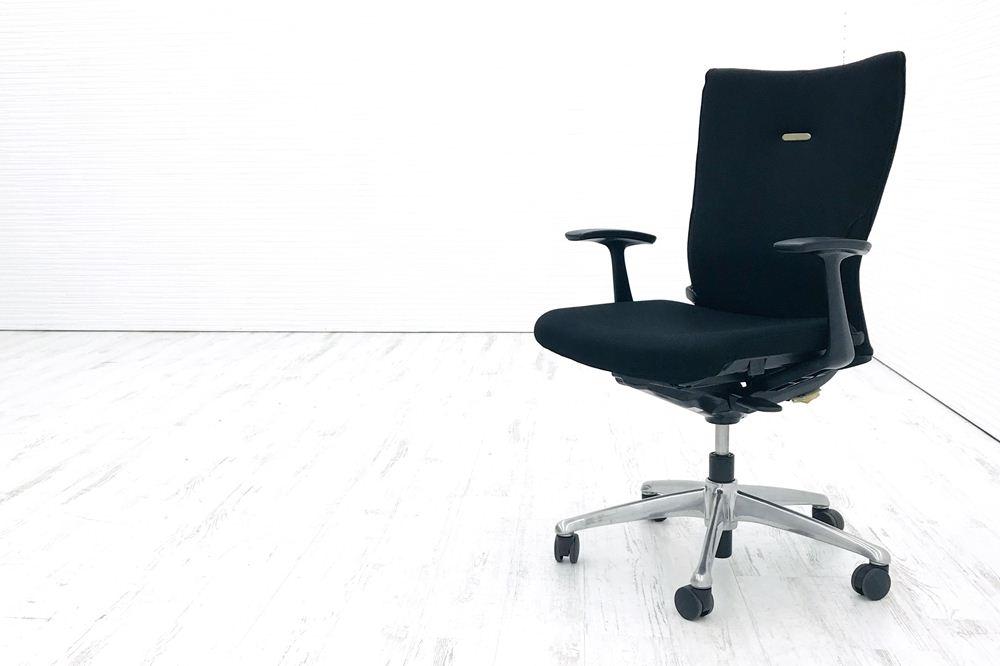 オカムラ フィーゴチェア 中古チェア フィーゴ クッション 固定肘 ハイバック 中古オフィス家具 ブラックの画像