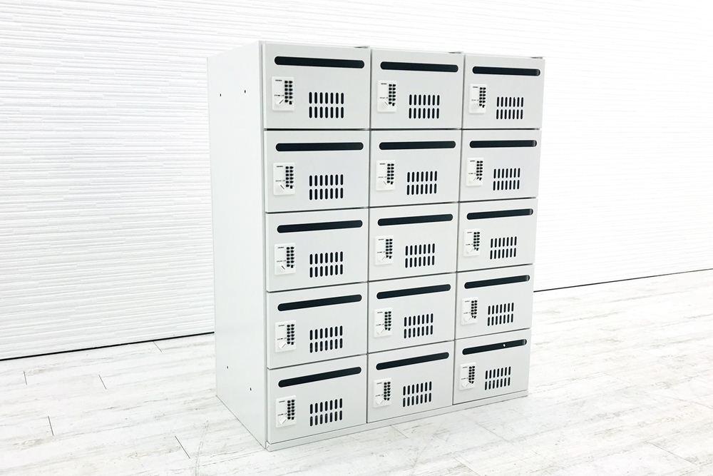 ウチダ 新品 15人用メールボックス ハイパーストレージ 15マス 収納家具 中古オフィス家具 メールボックス  プッシュ錠 HS-PL15-10(C)の画像