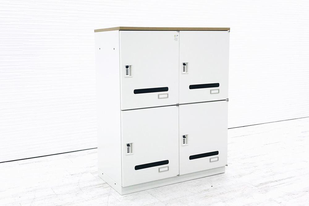 イトーキ 4マスロッカー 中古 シンラインキャビネット 収納家具 4人用 ダイヤル錠 ロッカー 中古オフィス家具 HCN-109HFR-W9の画像
