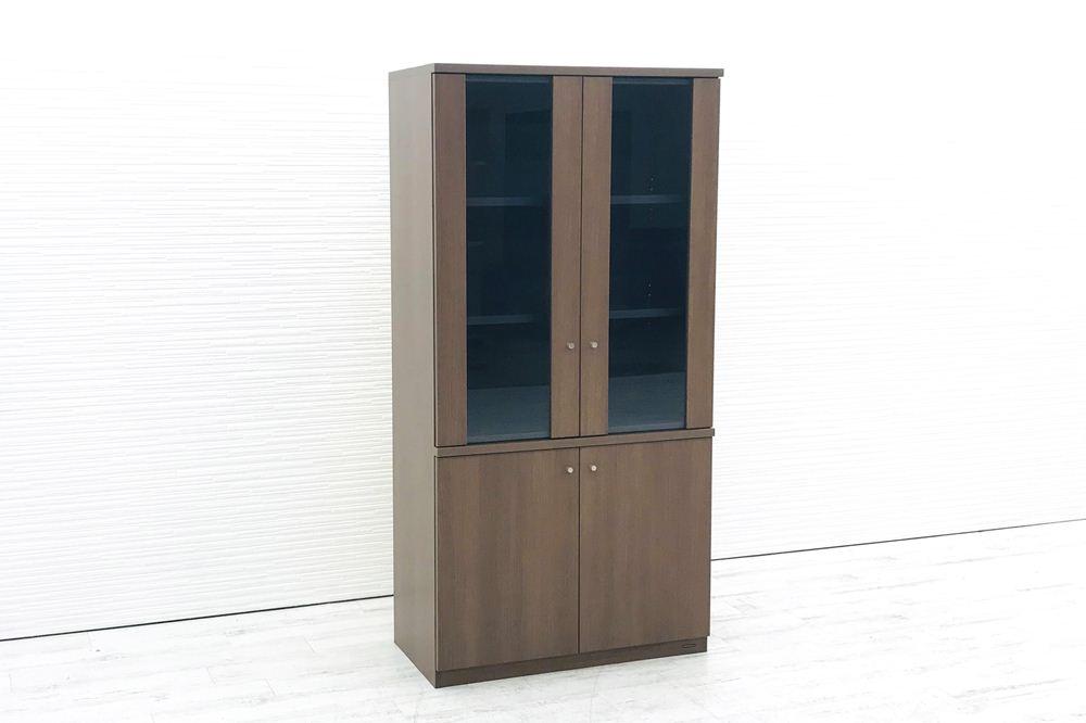 オカムラ EX-46 ガラス書庫 ガラス書架 収納家具 中古書架 中古オフィス家具 D246BZ-MK19 役員収納家具の画像