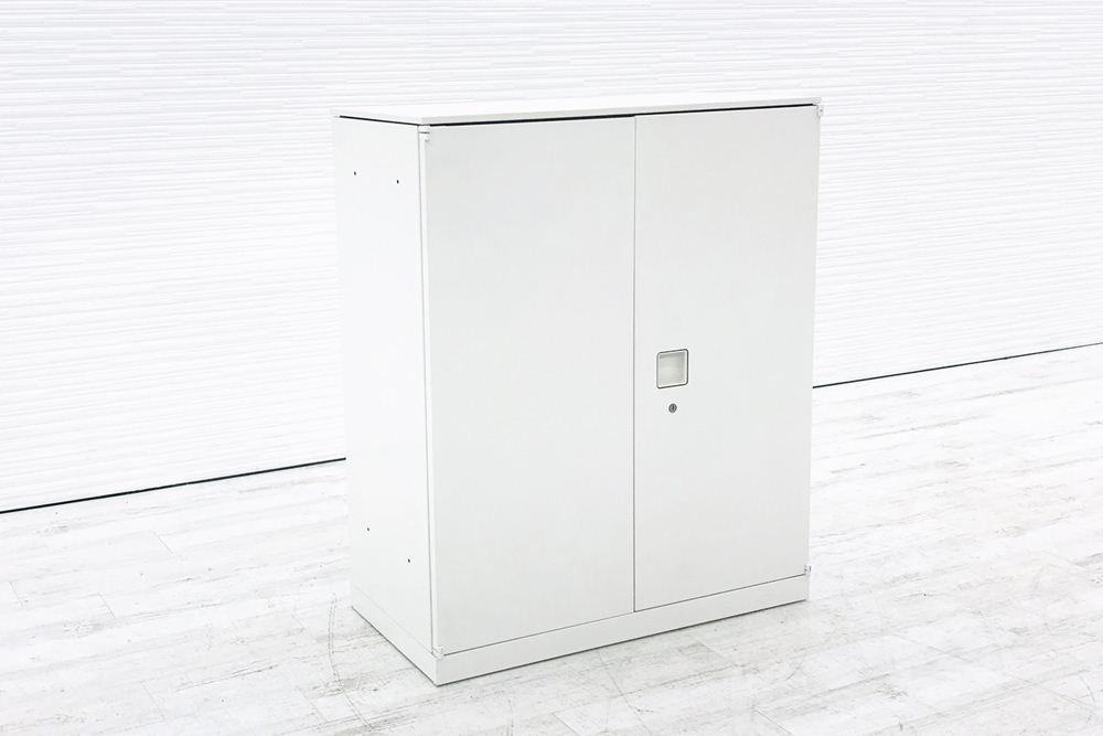 オカムラ レクトライン キャビネット 800×400×965mm 中古書庫 両開き書庫 スチール書庫 ホワイト 4M312Y ZA75 中古オフィス家具の画像
