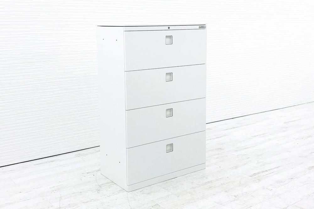 オカムラ レクトライン キャビネット 800×450×1265mm 天板付 中古書庫 4段ラテラル スチール書庫 ホワイト 4TG5ZC 中古オフィス家具の画像