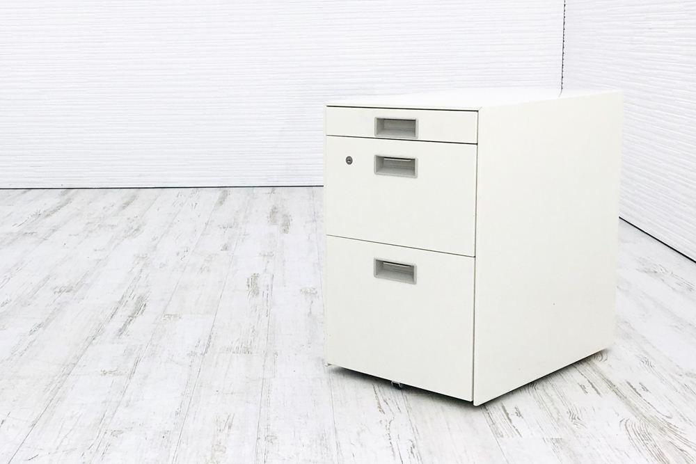 プラス Plus 3段ワゴン W395mm×D595mm×H620mm ワゴン3段 収納家具 脇机 袖机 中古オフィス家具の画像