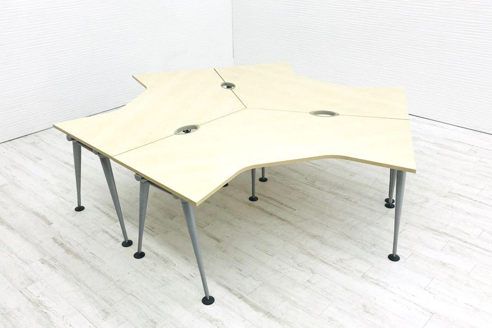 ハーマンミラー ブーメランデスク 【3台セット】 (1200×1200mm)×D800mm×H720mm 中古机 中古オフィス家具 オフィスデスク 事務机の画像