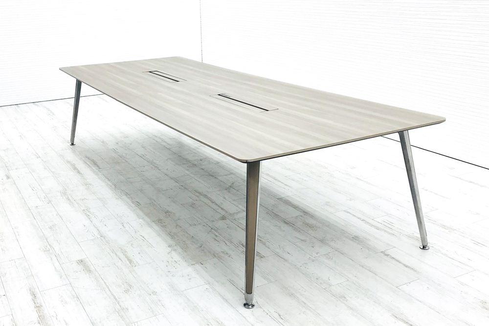 オカムラ プリシード 大型会議テーブル W3200×D1200mm×H720mm 幅3200 ミーティングテーブル 会議机 中古オフィス家具の画像