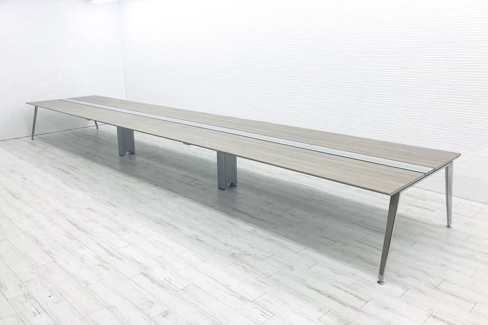 オカムラ プリシード フリーアドレス W7200×D1400mm×H720mm 幅7200 ミーティングテーブル 会議机 中古オフィス家具の画像