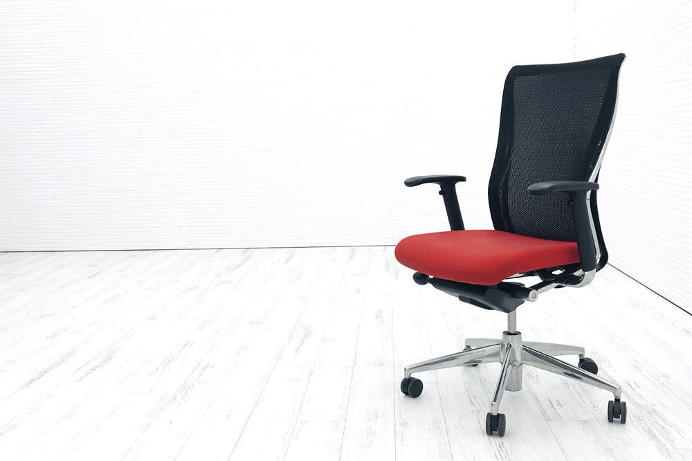 フォスターチェア 中古 コクヨ KOKUYO 背メッシュ クッション FOSTER 可動肘 レッド 中古事務椅子 中古オフィス家具の画像