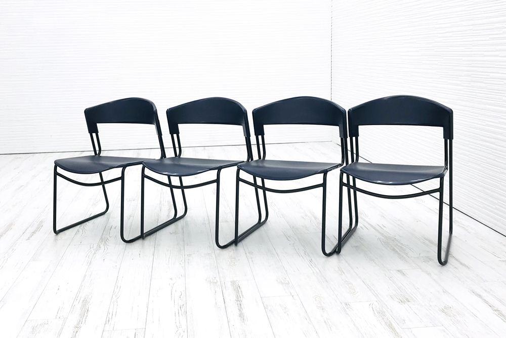 【4脚セット】 スチールケース ミーティングチェア assisa 中古 スタッキングチェア 中古オフィス家具 ブルーの画像