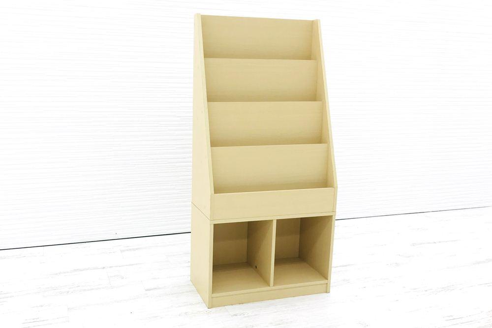 マガジンラック 中古オフィス家具 雑誌架 中古 木製 4段 オフィス家具 ラック パンフレットラック の画像