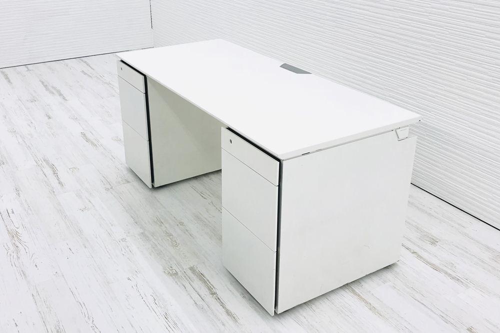 両袖机 両袖デスク 中古デスク オカムラ 事務机 W1600×D700×H720 中古オフィス家具 ホワイト 幅1600の画像