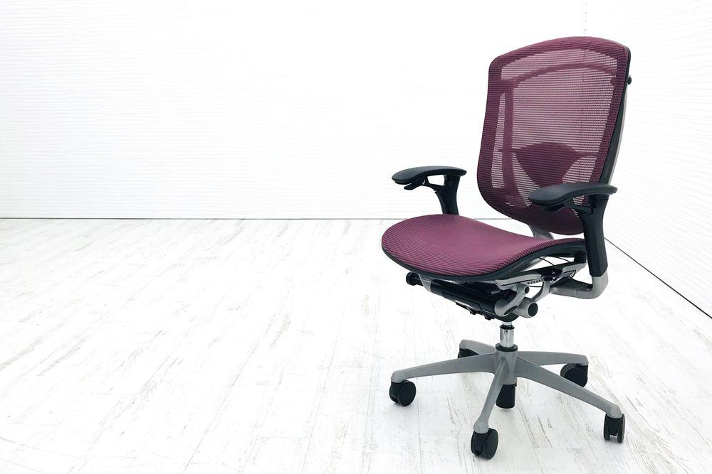 コンテッサチェア 中古 オカムラ コンテッサ シルバーフレーム メッシュ パープル 中古オフィス家具 オフィスチェア 高級チェアの画像