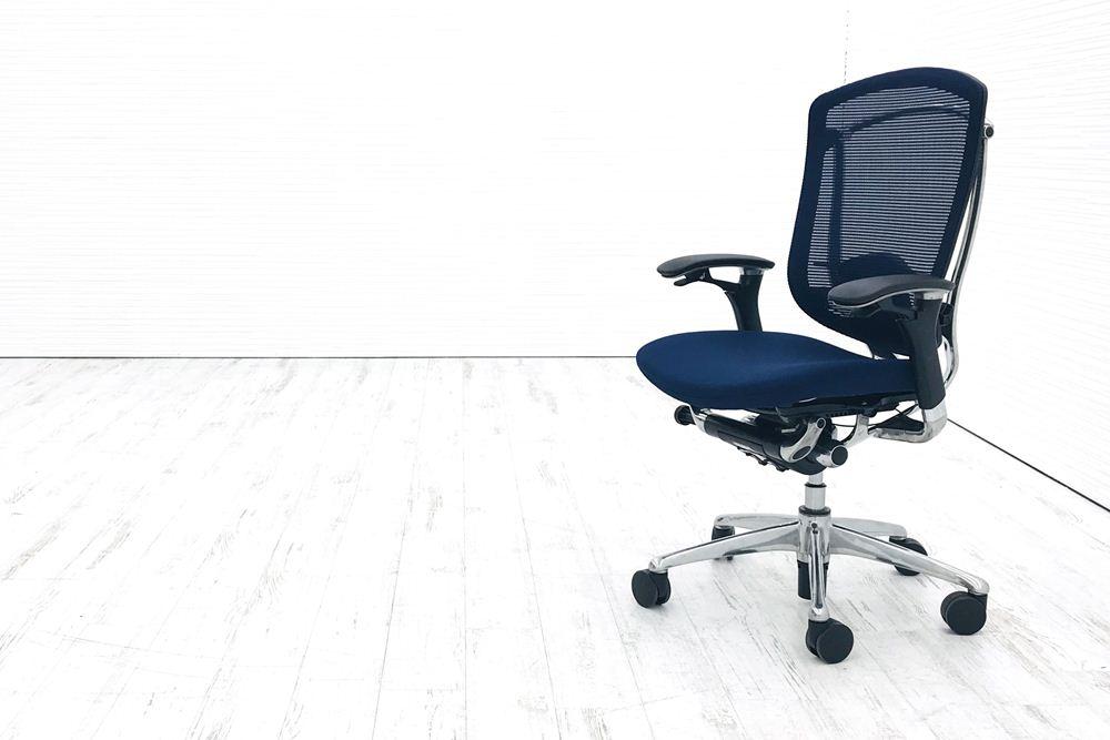 コンテッサチェア 中古 オカムラ コンテッサ クッション 高機能チェア 中古オフィス家具 ポリッシュフレーム ブルーの画像