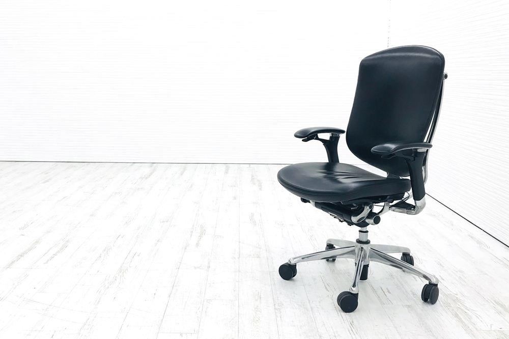 コンテッサチェア 中古 オカムラ コンテッサ 革 高機能チェア 中古オフィス家具 ポリッシュフレーム ブラックの画像
