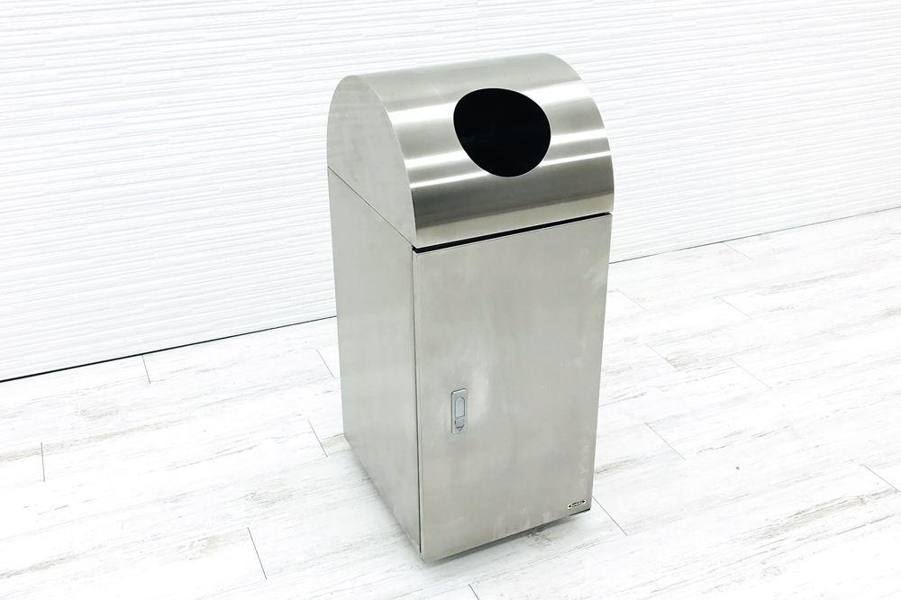 ゴミ箱 業務用ダストボックス 中古 ぶんぶく ステンレスゴミ箱 分別ゴミ箱 中古オフィス家具 丸口 缶 ペットボトルの画像