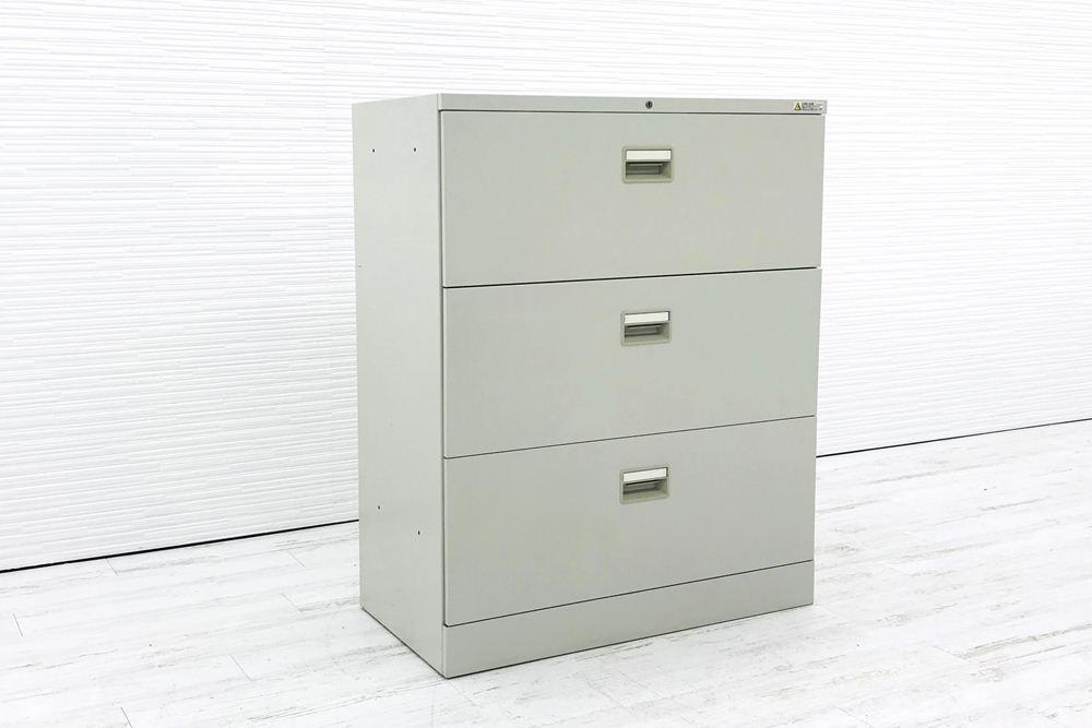 オカムラ 42シリーズ キャビネット 900×450×1100mm 中古キャビネット ラテラル書庫 3段ラテラル スチール書庫 中古オフィス家具 4273ZC Z13の画像