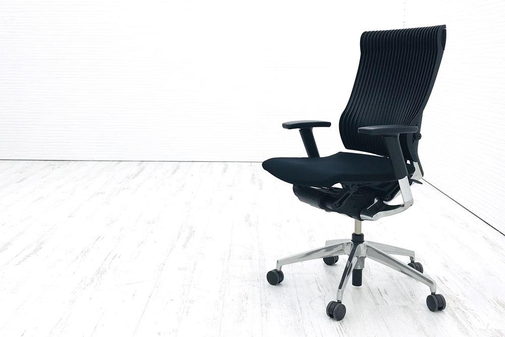 スピーナチェア 中古 イトーキ クッション オフィスチェア スピーナ 可動肘 中古オフィス家具 KE-757GP-Z9T1T1 ブラックの画像