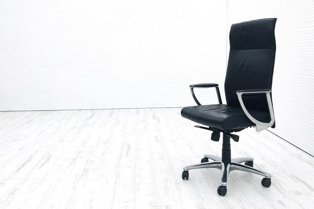 オカムラ エグゼクティブチェア CEシリーズ CE66SX 中古チェア 役員チェア 革張り 中古オフィス家具の画像