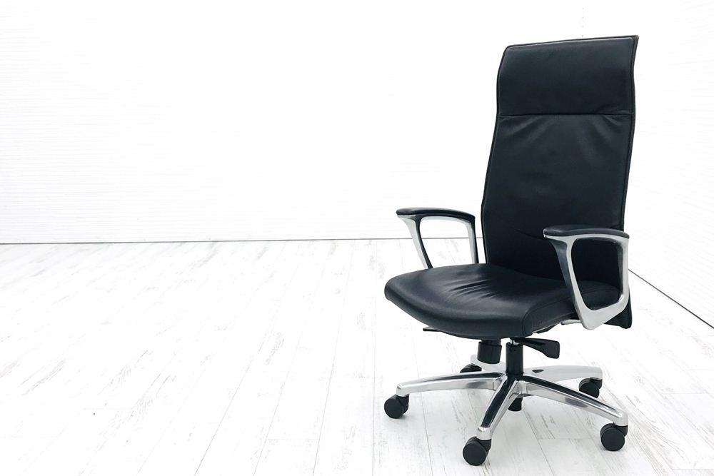 オカムラ エグゼクティブチェア CEシリーズ 中古チェア 役員チェア 革張り 中古オフィス家具 CE68SX-P794の画像