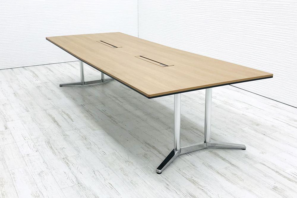オカムラ ラティオⅡ 中古 W3200×D1200mm×H720mm 幅3200 ミーティングテーブル 会議机 中古オフィス家具 4L289Dの画像