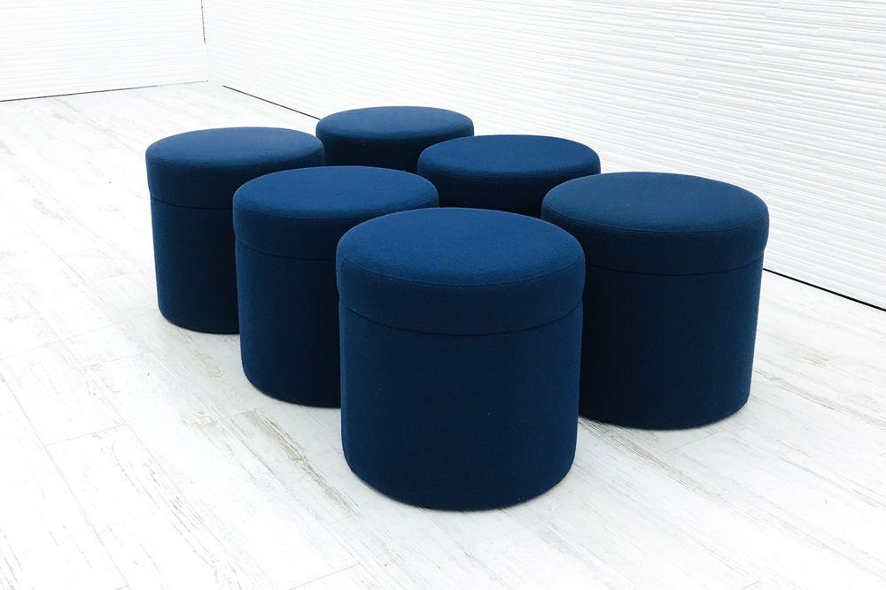 6点セット 応接ソファー 1Pソファー オカムラ 中古ソファ ソファー 応接用 中古オフィス家具 ブルー色の画像