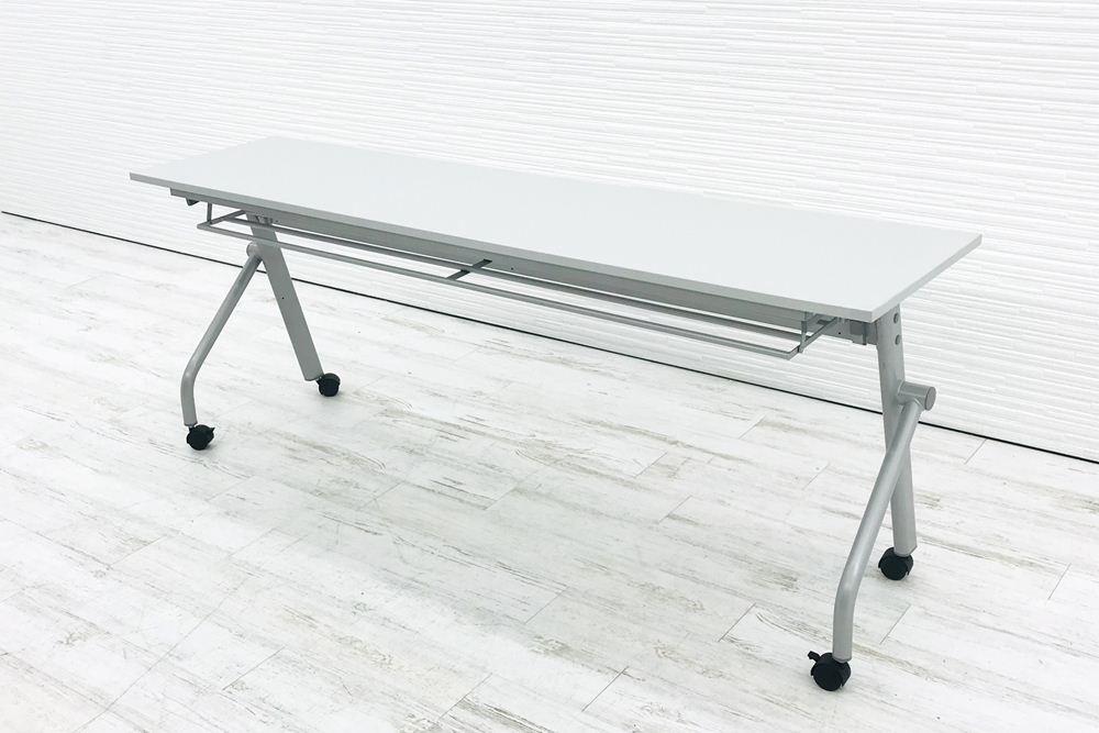 ミーティングテーブル 中古 アイリスチトセ W1800 幅1800 会議机 折りたたみ テーブル スタックテーブル 中古オフィス家具の画像