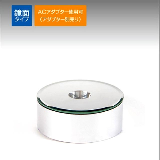 LED 台座 ライト ステージ スタンド 乾電池 別売ACアダプター対応 非回転 ミラータイプ クリスタル ガラス フィギュアの画像