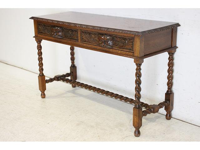 cl-1 1890年代 イギリス製 アンティーク ソリッドオーク ビクトリアン グリーンマン 引き出し付き コンソールテーブル画像