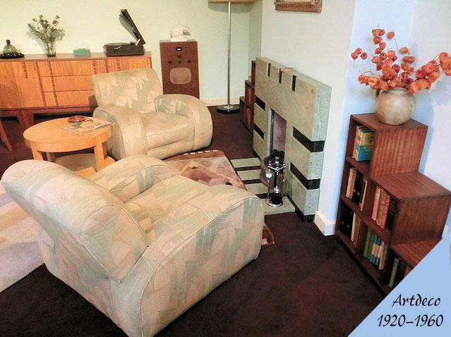 アールデコ様式のアンティーク家具の部屋
